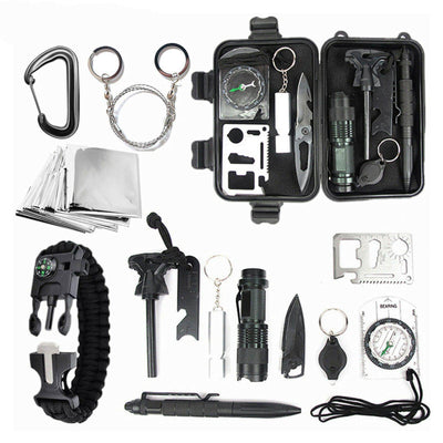 9 in 1 Outdoor Kit Emergency Camping Survival Gear Kit