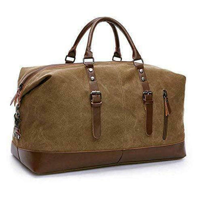 Large capacity canvas plus leather portable travel shoulder bag,