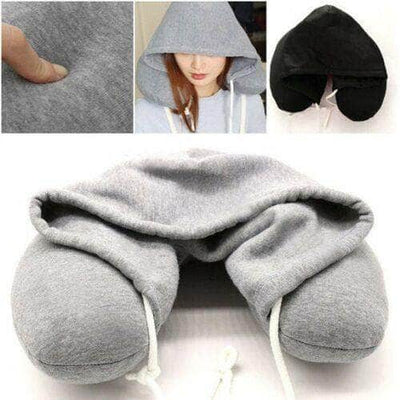 Soft Comfortable Hooded Neck Travel Pillow U Shape Airplane Pillow with Hoodie