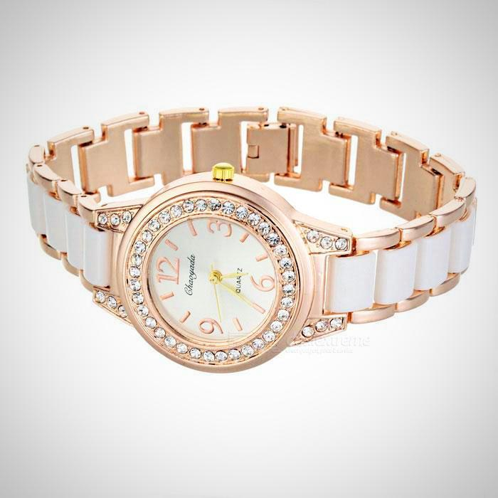 Crystal Watch - Crystal Lined Thin Leather Band Watch - Soft Pink/Rose Gold