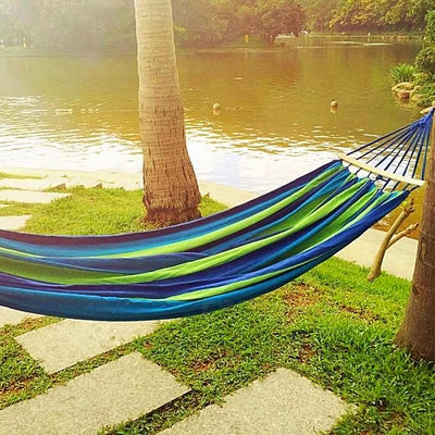 Double Person Hammock Canvas Camping Hammocks Wooden Stick Prevent Rollover Bar Garden Camping Swing