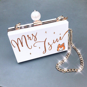 Clutch Bag Customised Your Name | with Pearl Charm