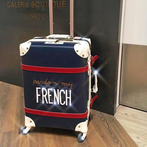 Pardon my French | Suitcase | 20 inch | Navy