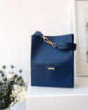 dark blue vegan bucket bag from Jenah St.