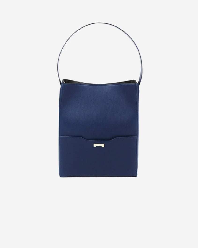 Dark blue Bucket bag in ecofriendly vegan leather