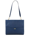 The perfect workbag for women in navy blue made in ecofriendly vegan leather