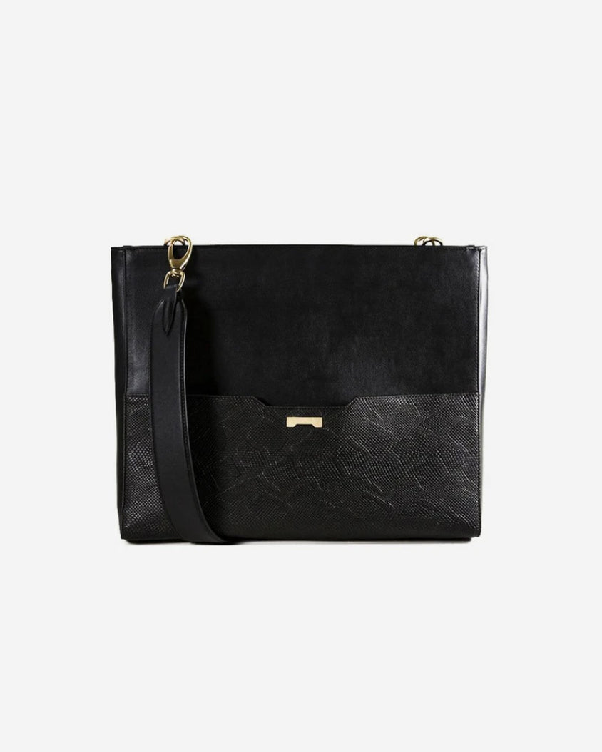 Perfect python black ecofriendly vegan leather laptop bag for women