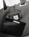 inside of a black ecofriendly vegan leather handbag affordable luxury