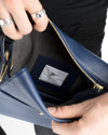 Crossbody dark blue pouch in luxury vegan leather