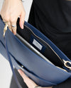 The perfect laptop bag for women in navy blue vegan leather
