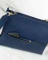The perfect workbag for women in navy blue sustainable vegan leather