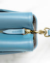 Crossbody pouch in light blue ecofriendly crueltyfree leather