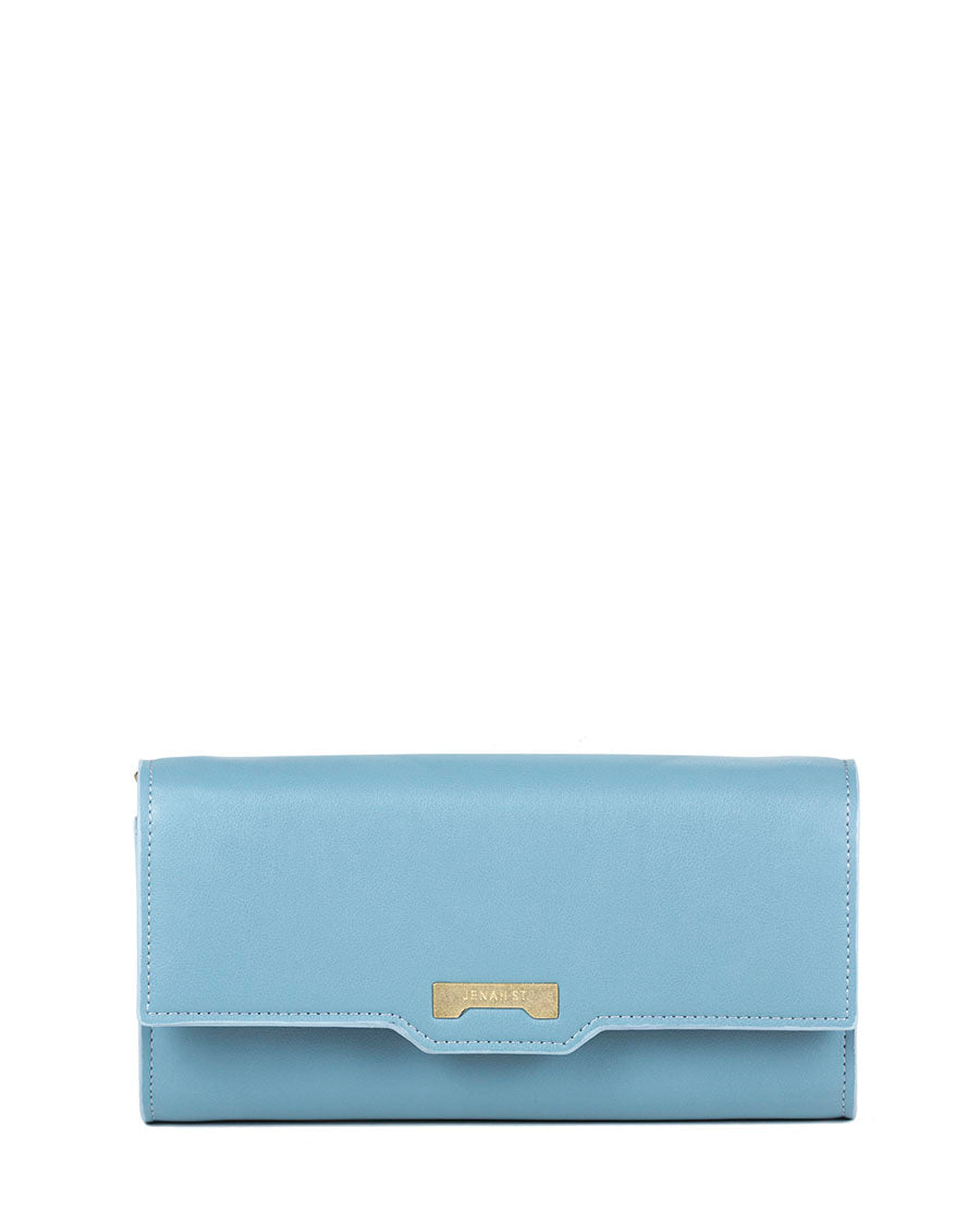 Luxury light blue minibag wallet in ecofriendly vegan leather