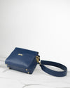Crossbody pouch in dark blue ecofriendly vegan leather