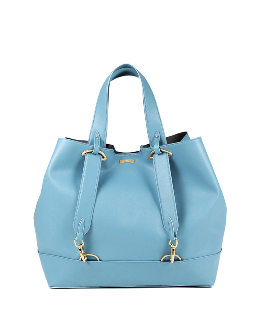 Light blue ecofriendly vegan leather handbag affordable luxury