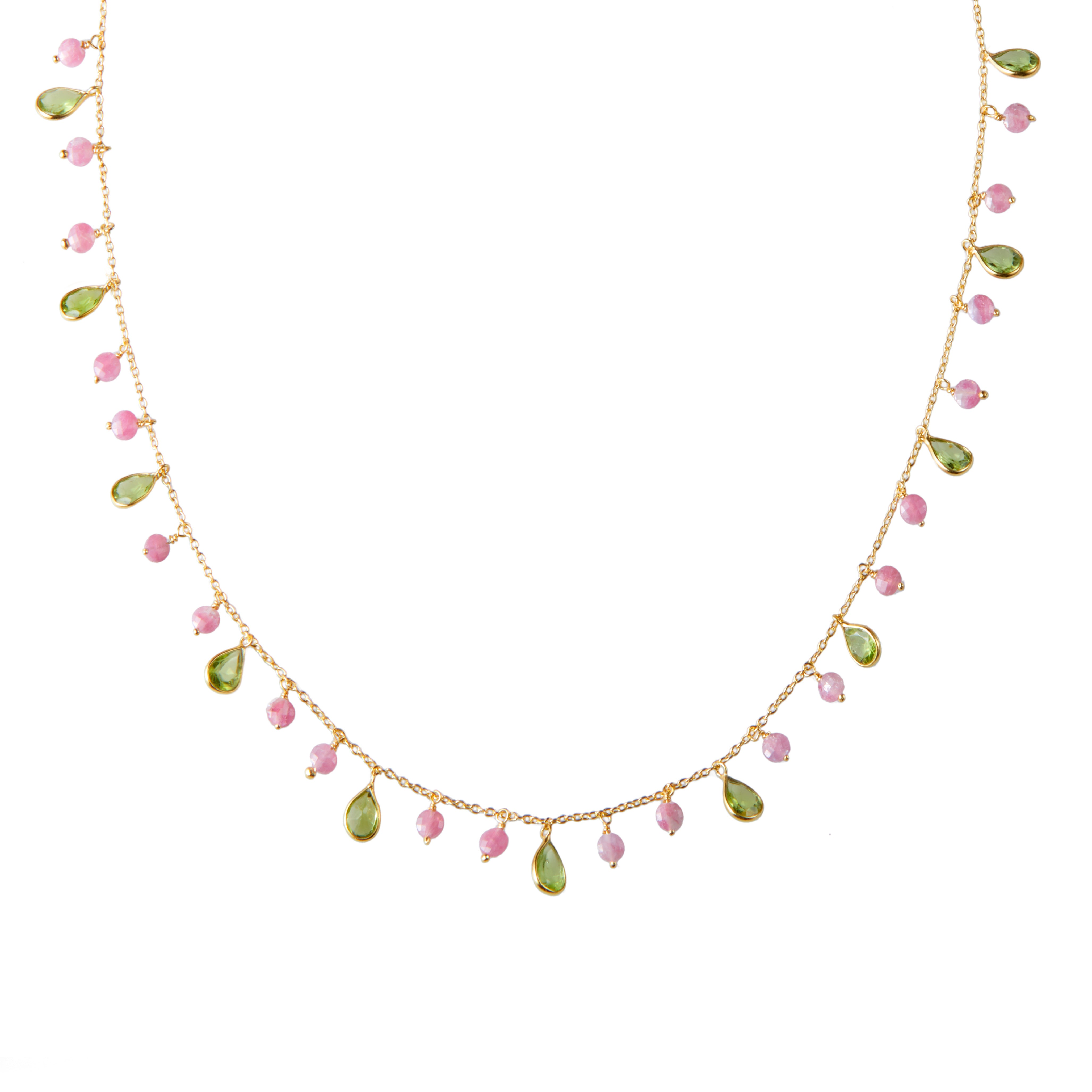 KK Necklace in Peridot and Pink Tourmaline