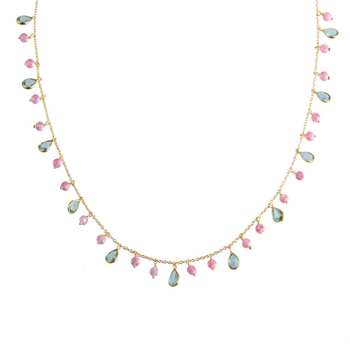 Kiki Necklace in Blue Topaz and Pink Tourmaline
