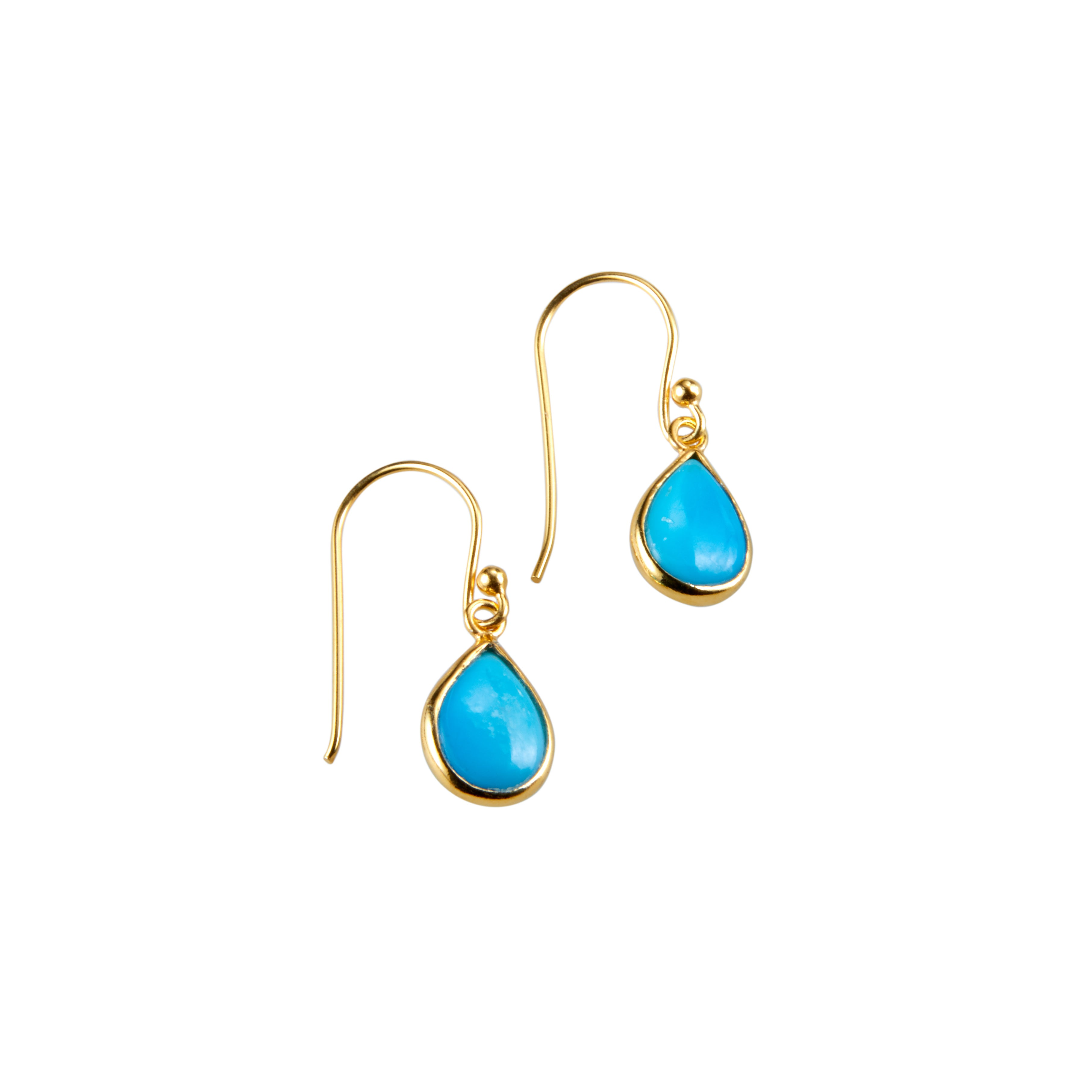 Tear Drop Earring in Gold with Turquoise