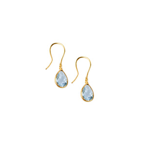 Tear Drop Earring in  Gold with Blue Topaz