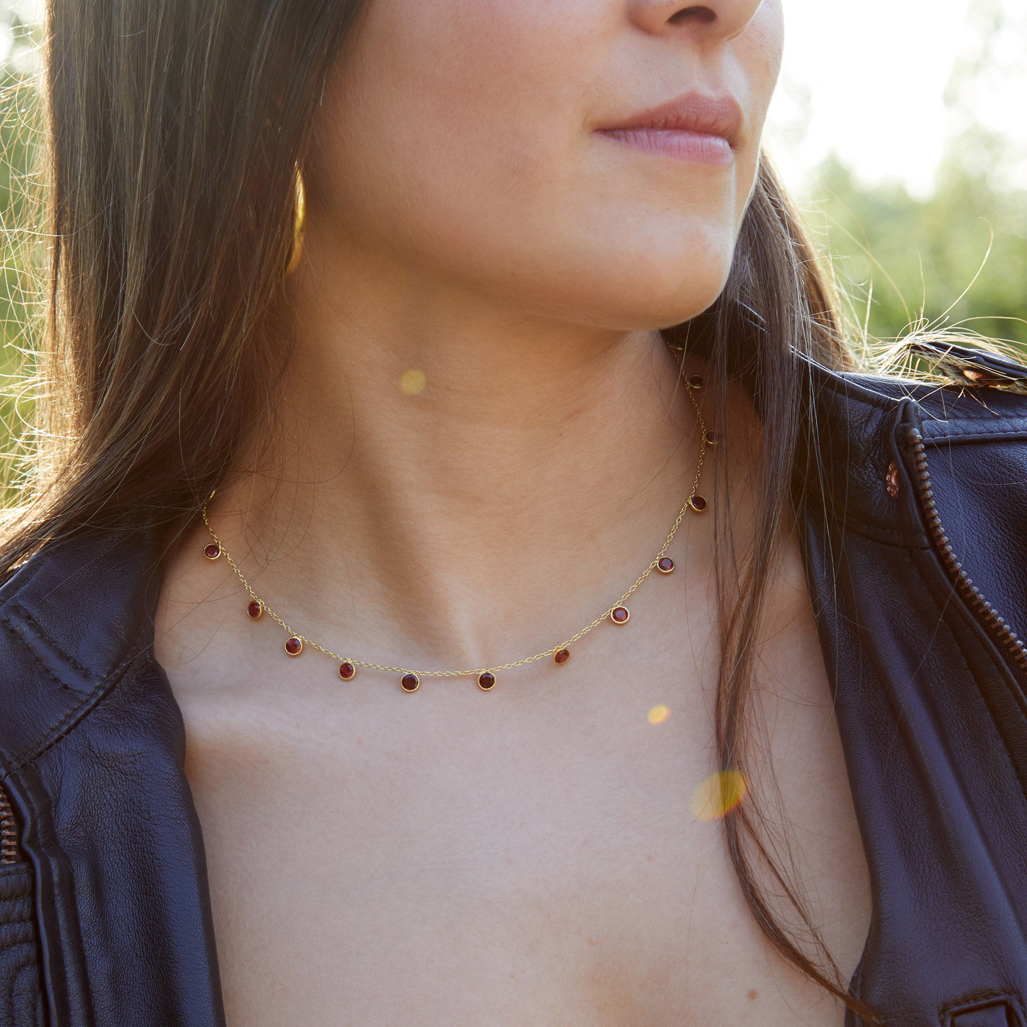 Zaza Necklace in Gold with Garnet