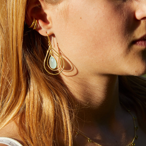 Lolita Earring in Gold with Aqua Chalcedony