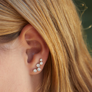 Aquila Studded Ear Jewel in Silver with Zirconia