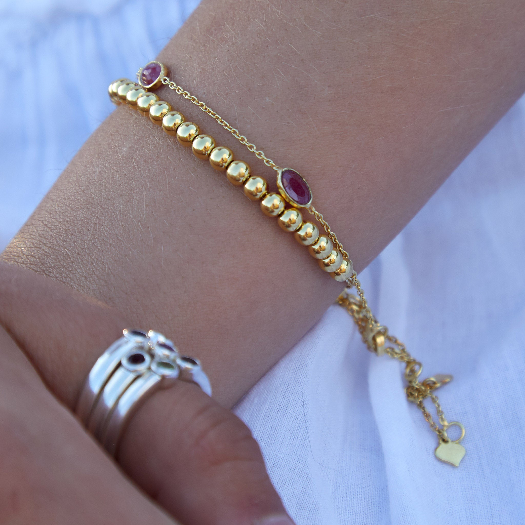 Hepburn Bracelet in Gold with Ruby