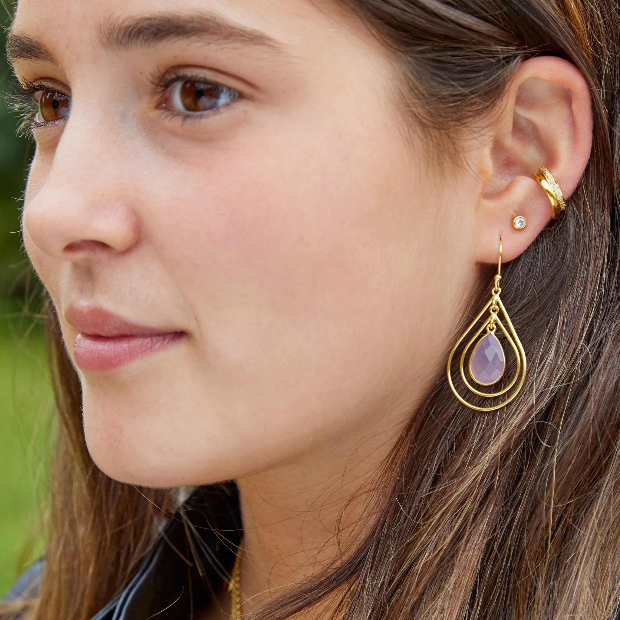 Acer Ear Stud in Gold with Zirconia