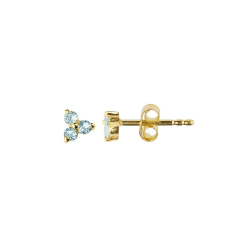 Clover Stud in Gold with Blue Topaz