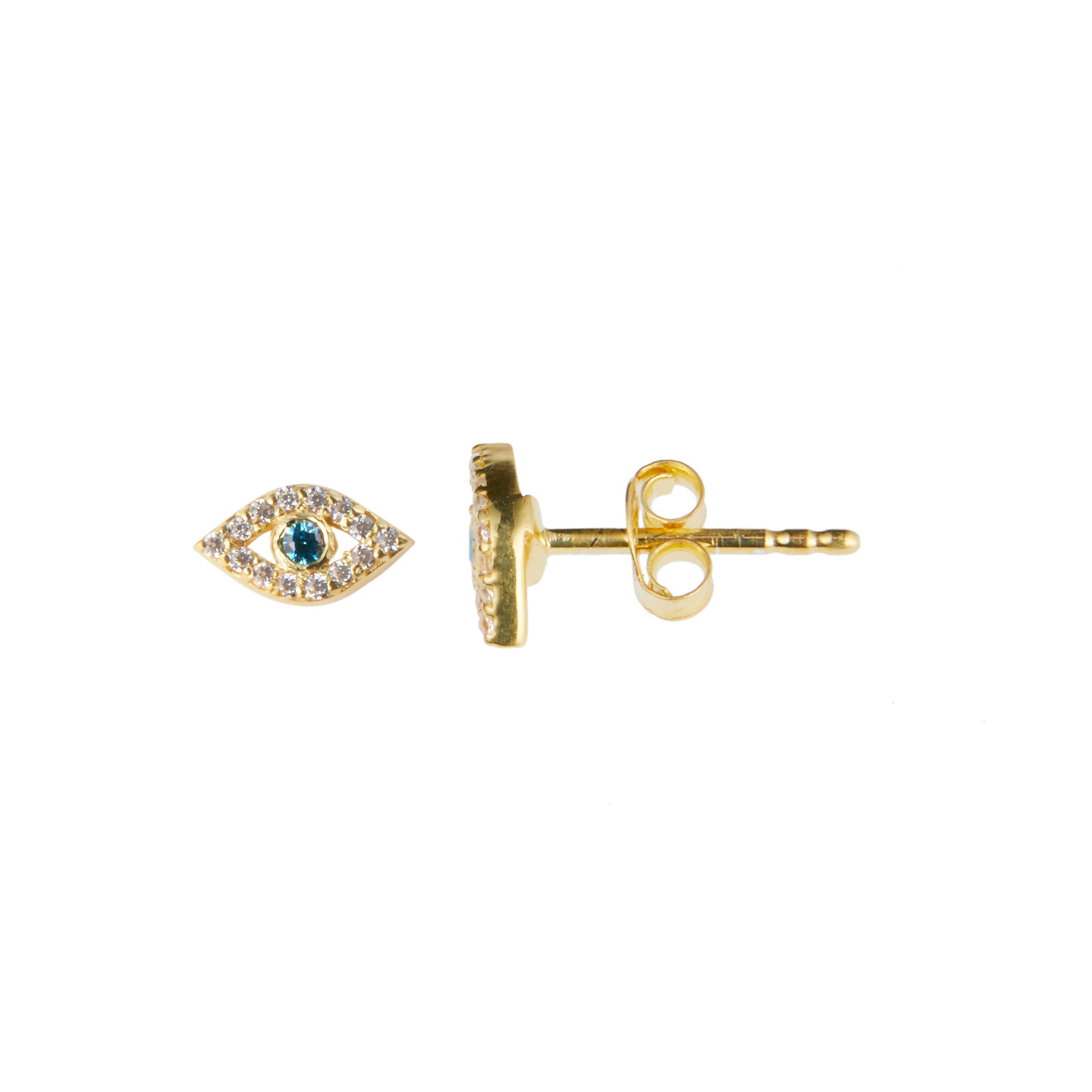 Cleo Earring in Gold with Blue Zirconia