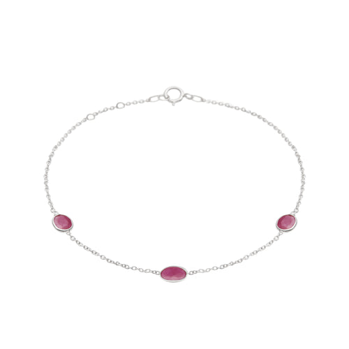 Hepburn Bracelet in Silver with Ruby