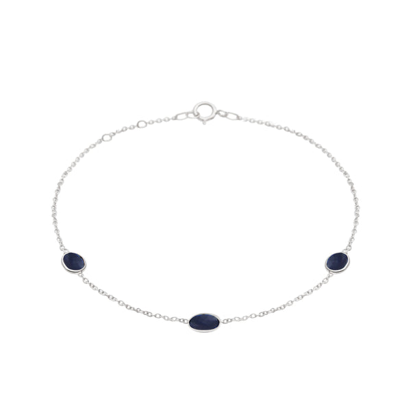 Hepburn Bracelet in Silver with Sapphire