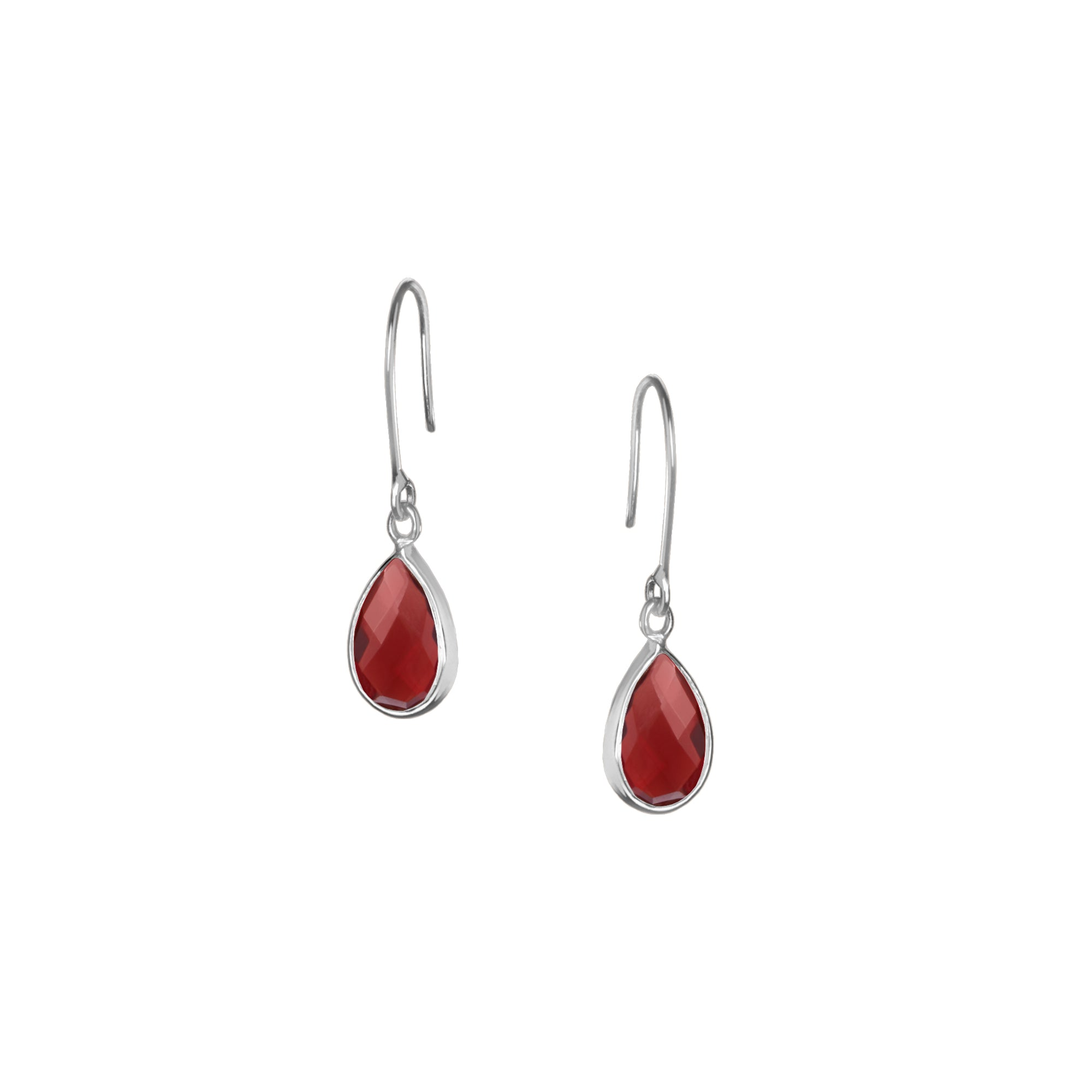 Tear Drop Earring in Silver with Red Iolite