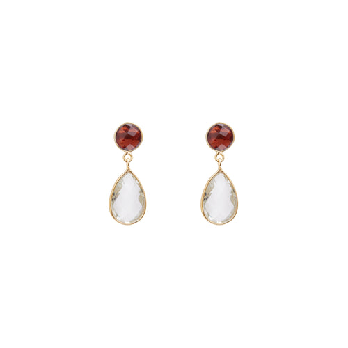 Large Apple and Pears Stud Earring in Gold with Garnet and Amethyst