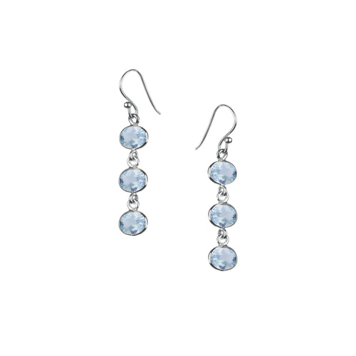 Trellis Earring in Silver with Blue Topaz