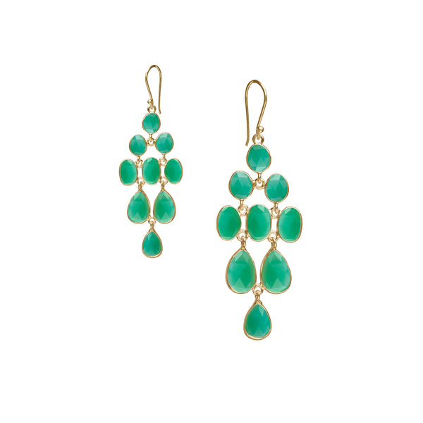 Waterfall Earring in Gold with Green Chrysoprase