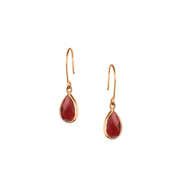 Tear Drop Earring in Gold with Red Iolite