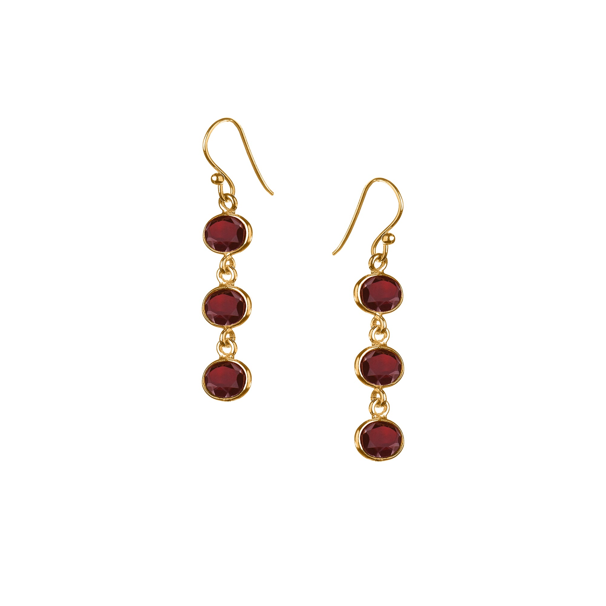 Trellis Earring in Gold with Garnet