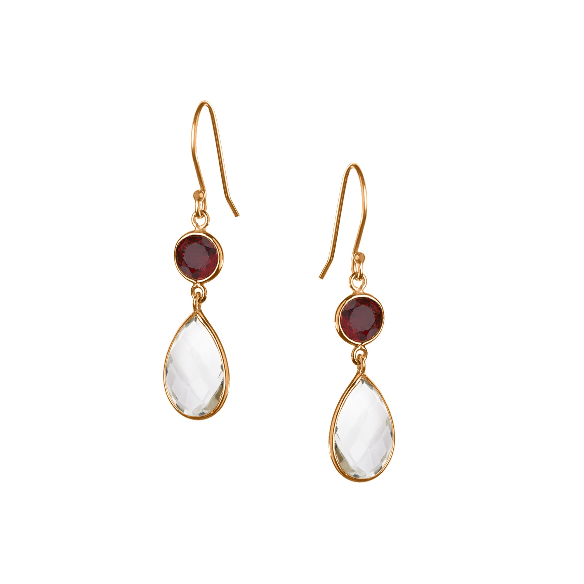 Large Apple and Pears Drop Earring in Gold with Garnet and Amethyst