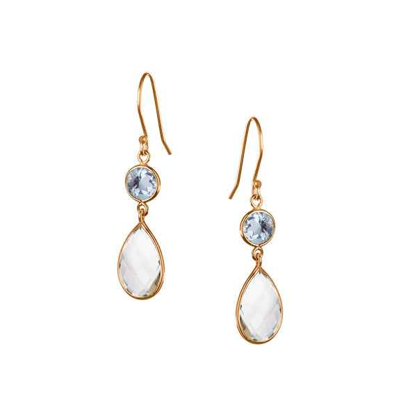 Large Apple and Pears Drop Earring in Gold with Topaz and Green Amethyst