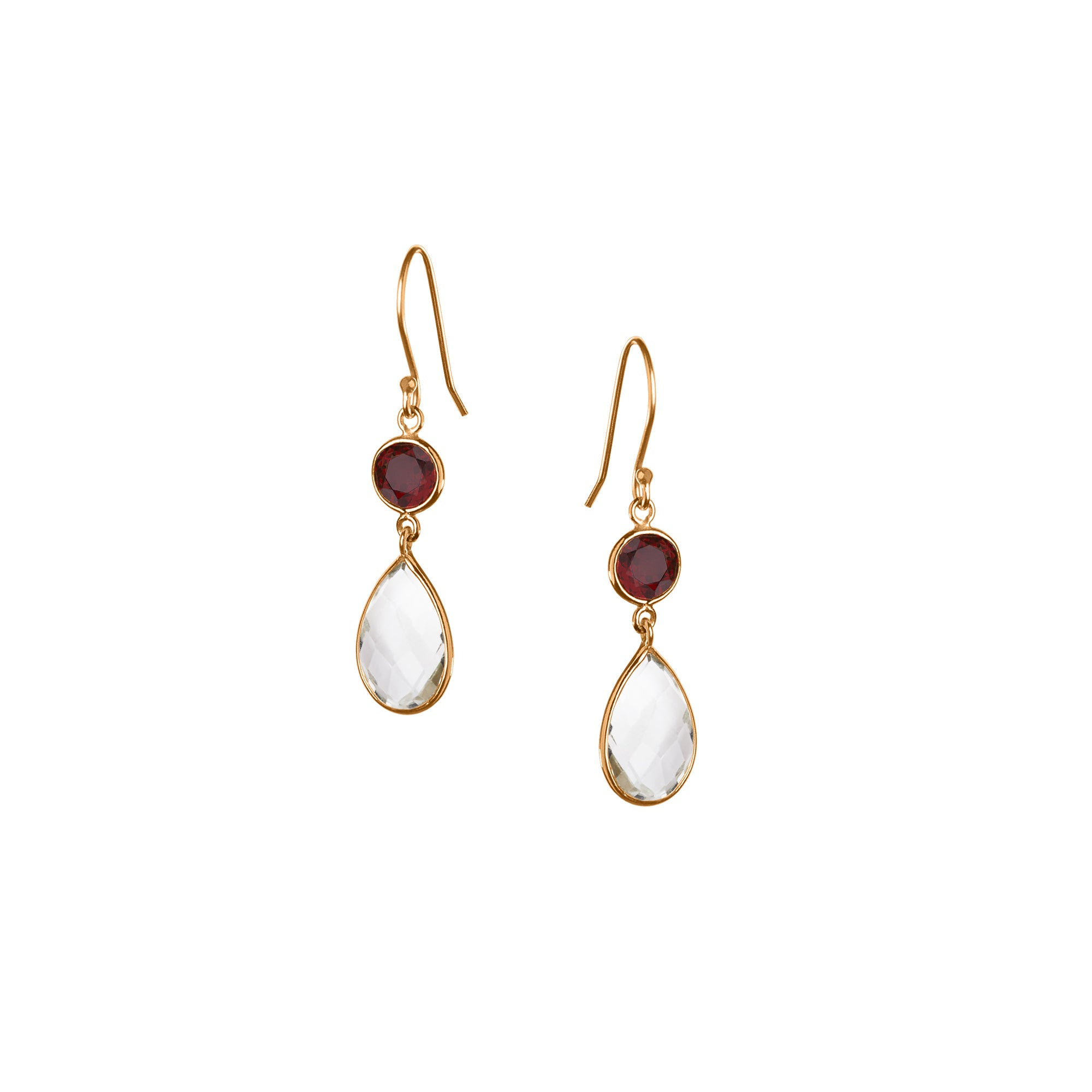 Small Apple and Pears Drop Earring in Gold with Garnet and Amethyst