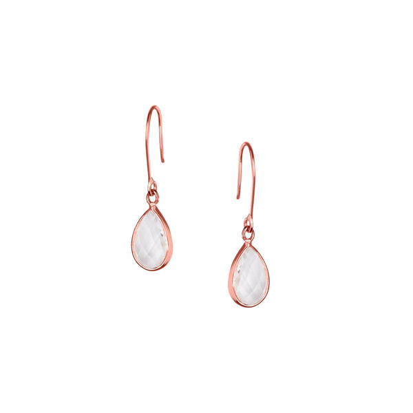 Tear Drop Earring in Rose Gold with Crystal