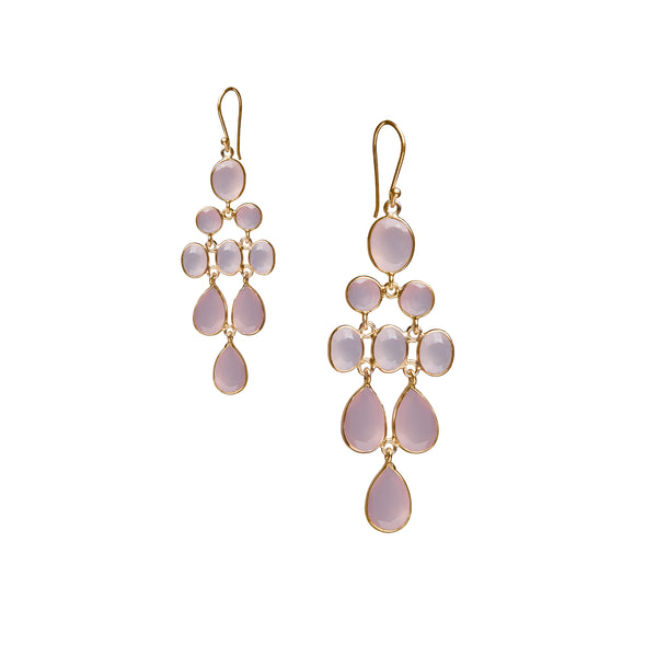 Waterfall Earring in Gold with Light Pink Chalcedony