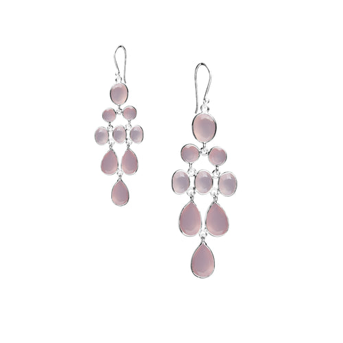 Waterfall Earring in Silver with Light Pink Chalcedony