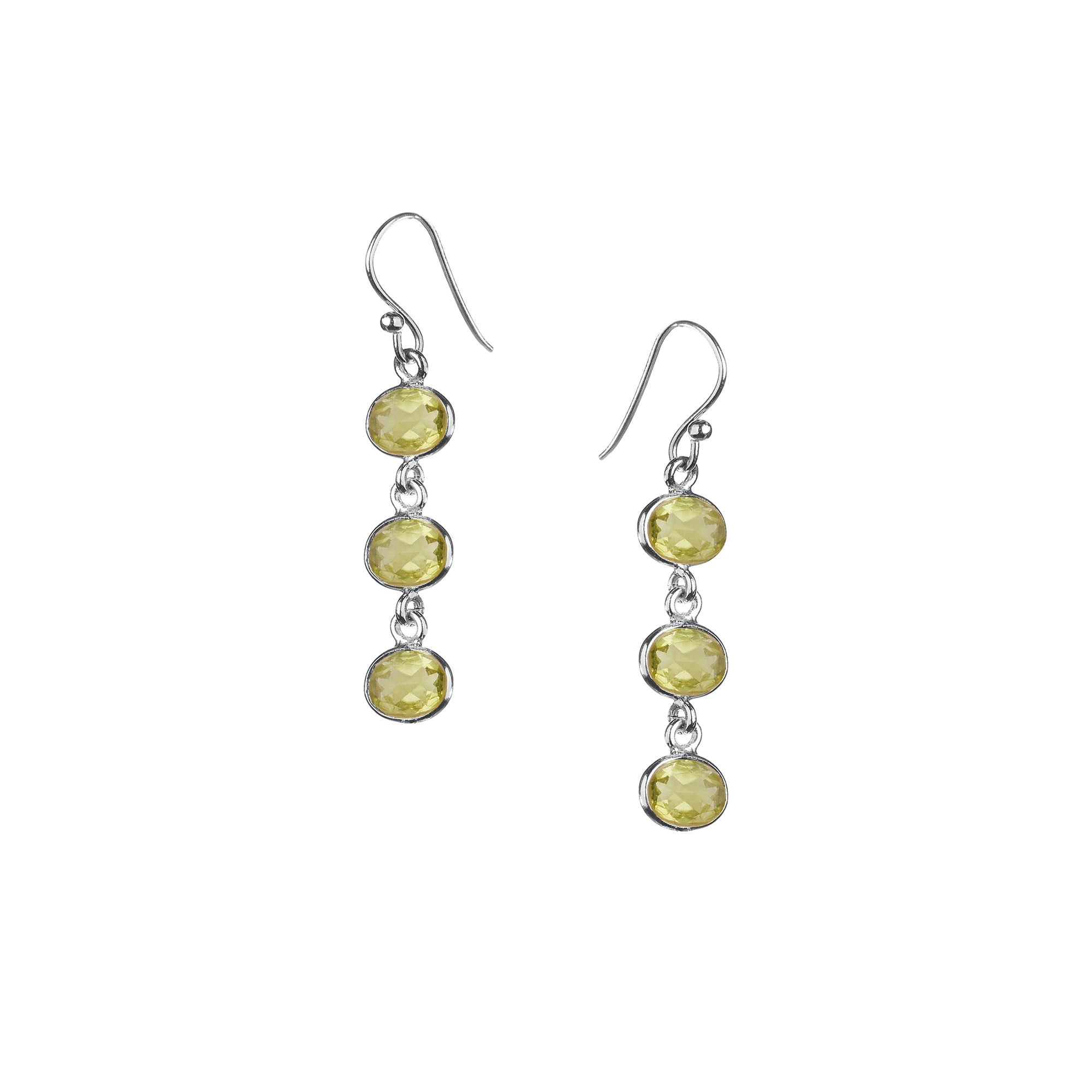 Trellis Earring in Silver with Peridot