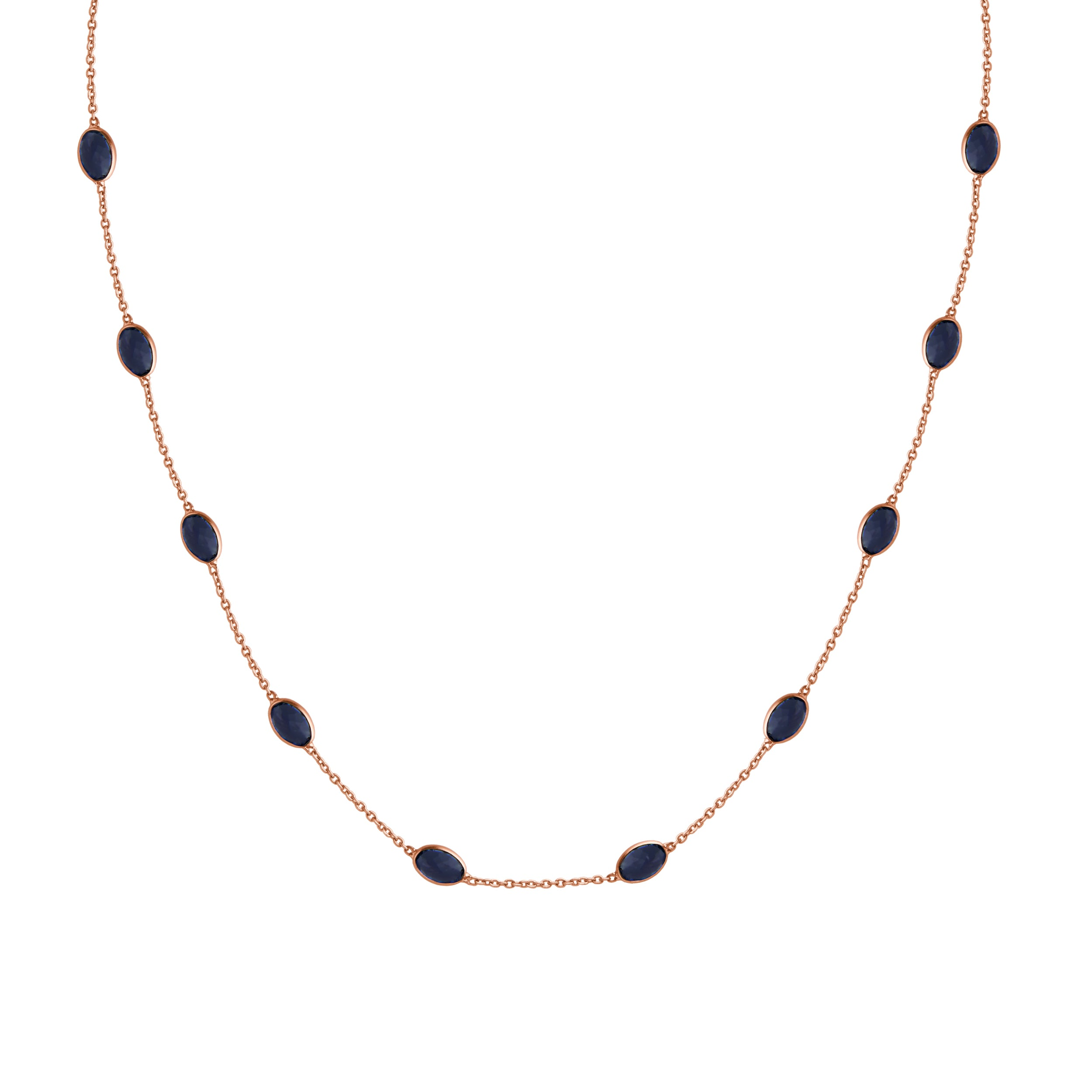 Hepburn Necklace in Rose Gold with Sapphire