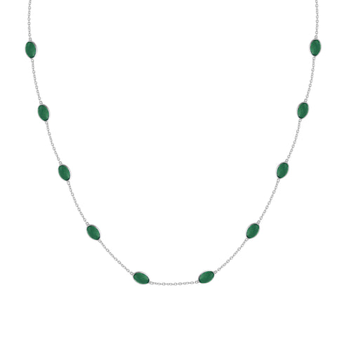 Hepburn Necklace in Silver with Emerald