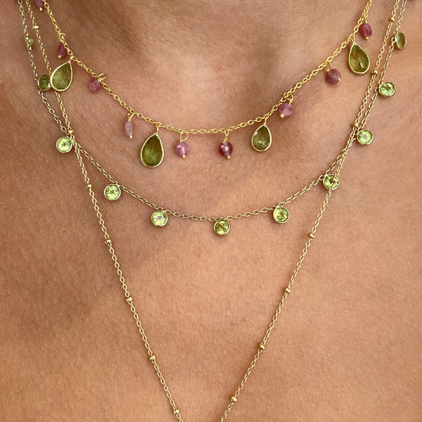 Zaza Necklace in Gold with Peridot