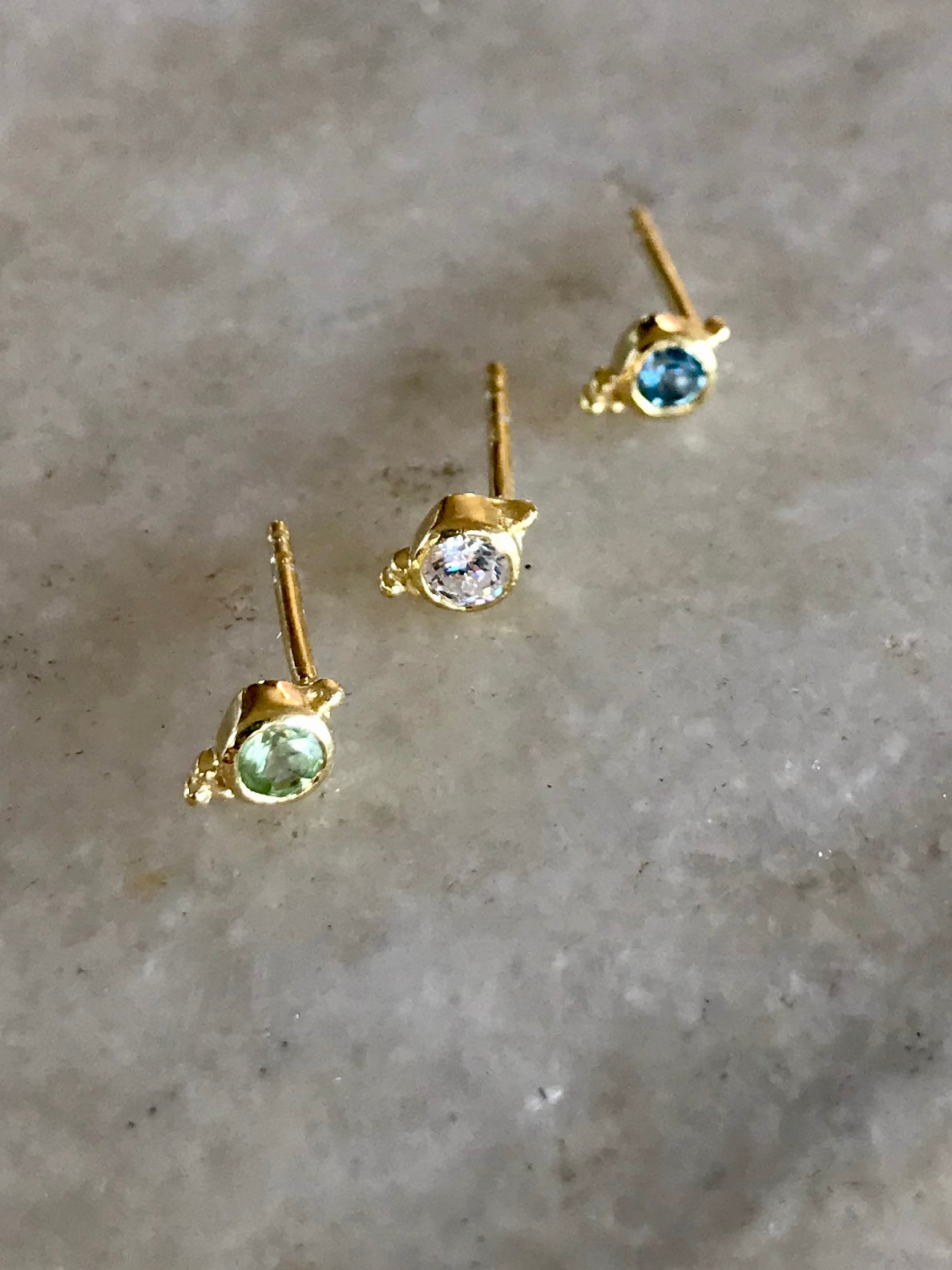 Dudley Stud in Gold with Blue Topaz