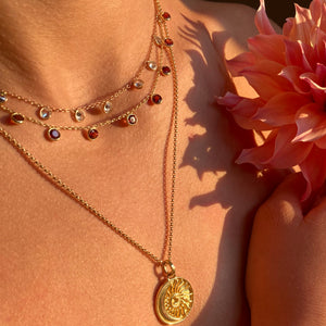 Zaza Necklace in Rose Gold with Garnet